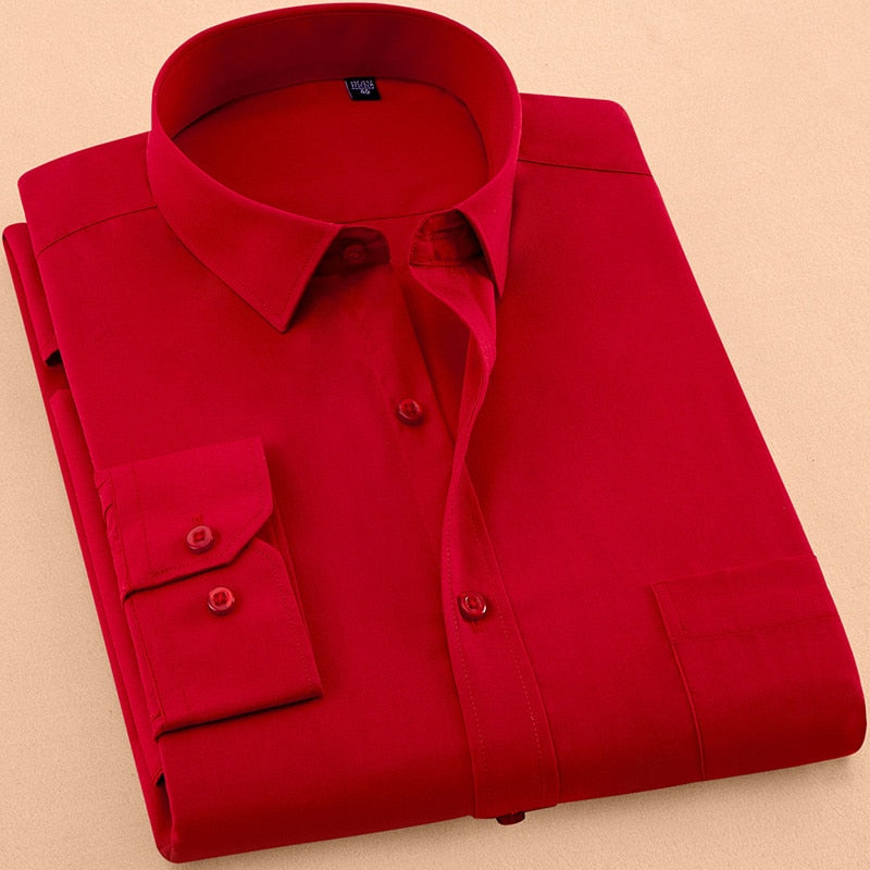 2018 New Autumn Mens Dress Shirt Long Sleeve Casual Pure Color Business Red Stand collar Male Clothing Camisa Masculina Social