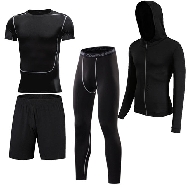 4 Pcs Outdoor Jogging Sport Men Suits Male Tracksuit Outdoors Suit Men's Gym Sportswear Running Track Suits Casual Sportswear