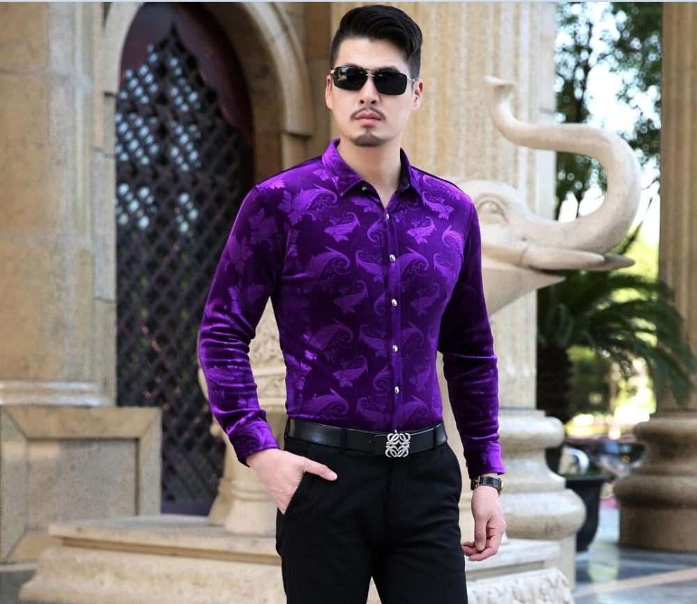 High Quality Newest Style 2016 Autumn Mens Fashion Floral Gold Velvet Dress Shirt Formal Males Business Long Sleeve Velvet shirt