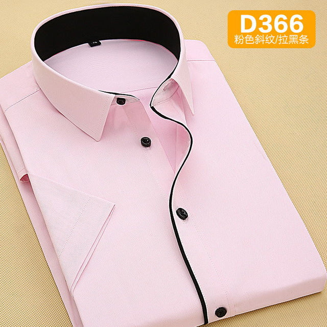 New Summer Blue White Pink Twill Formal Short Sleeve Men Shirt Black Brim Fashion 110kg 120kg 130kg Plus-size 6XL 7XL 8XL