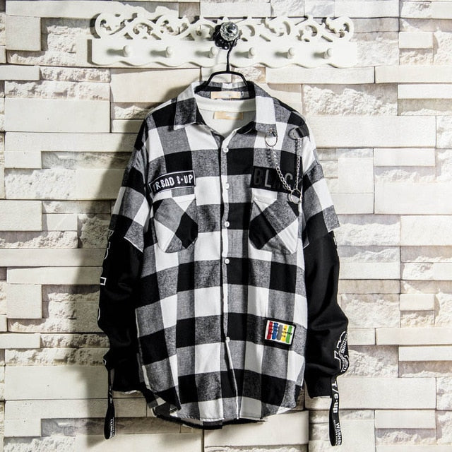 Red And Black Plaid Patchwork Shirt Men Hip Hop Checkered Shirt Korean Fashion Streetwear Men Shirts Button Up Punk Rock Rap
