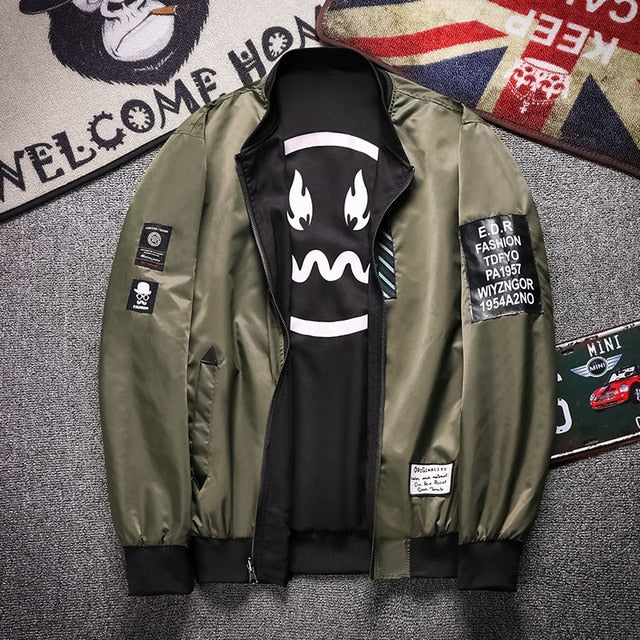 Men Reversible Jacket 2018 Spring Autumn New Casual Double-faced Baseball Jacket Men High Quality Bomber Jacket Coat for Male 13