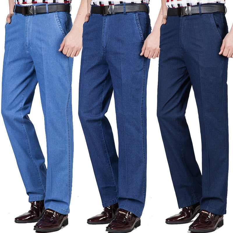 Summer thin Middle-aged Jeans Casual High Waist Loose Long Denim Pants Male Solid business casual Straight Jeans For Men