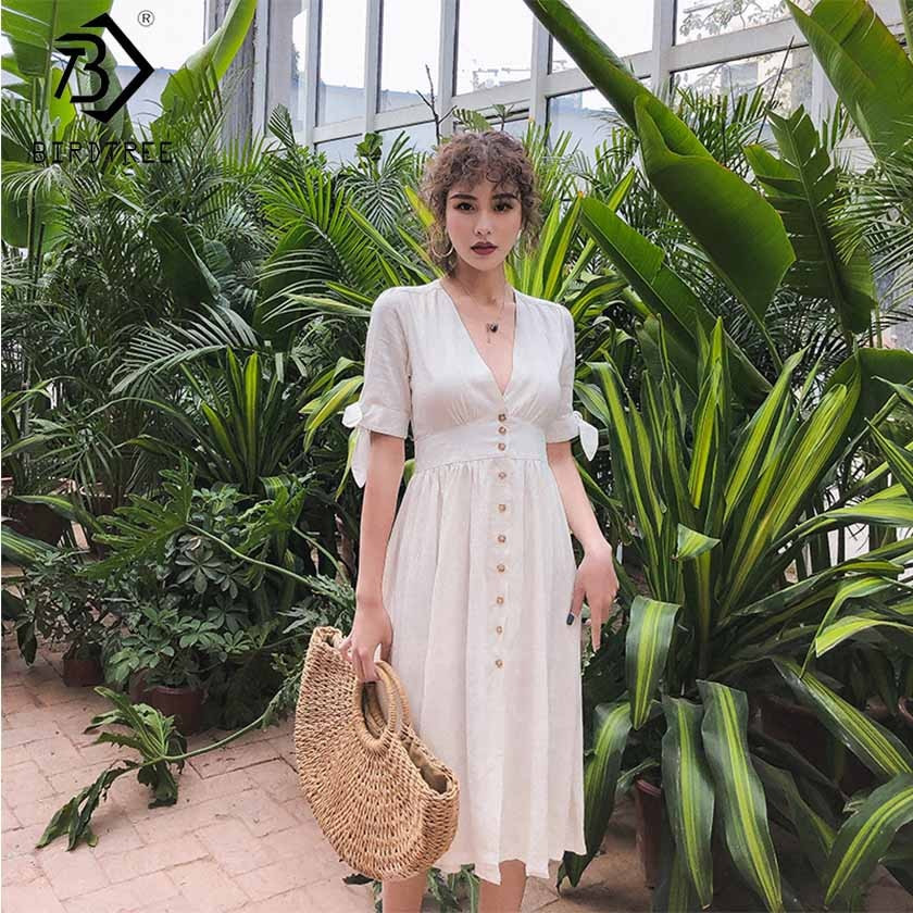 2019 Summer New Arrival Women's Solid Button Dress Elegance High Waist Short Lace Up Bow Sleeve V Neck Vintage Dress D8D701I