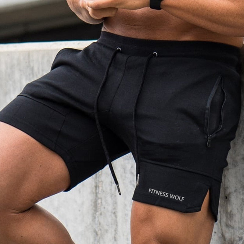 Men Casual Shorts Solid Color Straight Shorts Male Fitness Fashion Bodybuilding Shorts Brand Trend Menswear