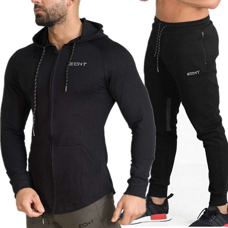 Men Running Sportswear Suits Sweatshirt/Sweatpants Gym Fitness Training Hoodies and Pants 2pcs/Sets Male Jogging Tracksuit Coats
