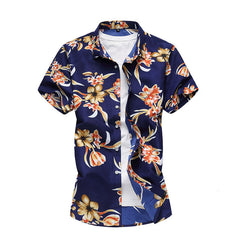 20 Styles Summer Shirt Men Casual Short Sleeve Men's Floral Shirts Hawaii Casual Male Flower Print Beach Holiday Camisa 6XL 7XL