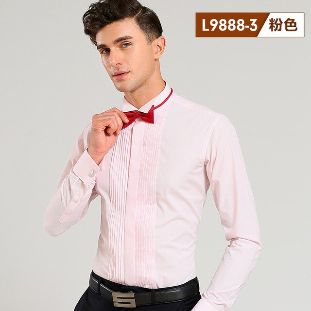 French Cuff Shirts Long Sleeve Casual Luxury Tuxedo Shirt White Black Pink Party Wedding Male Dress Shirt Fashion Men Clothing
