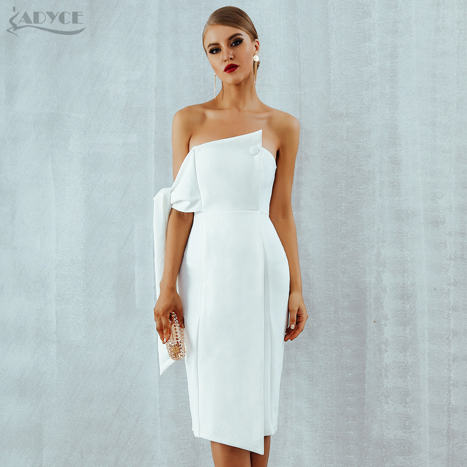 Adyce Celebrity Party Dress Women 2019 New Summer Arrival Casual White One Shoulder Elegant Button Tassels Club Dresses Vestidos