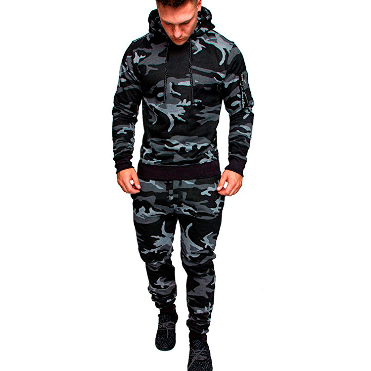 Camouflage Gym Running Suit Men Hooded Sportswear Men Autumn Winter Jogging Suit For Men 2 Pcs Sports Set Warm Jogging Tracksuit