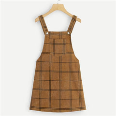 Dotfashion Brown Bib Pocket Front Grid Corduroy Overall Dress Women Clothes 2019 New Arrival Autumn Casual Sleeveless Dress