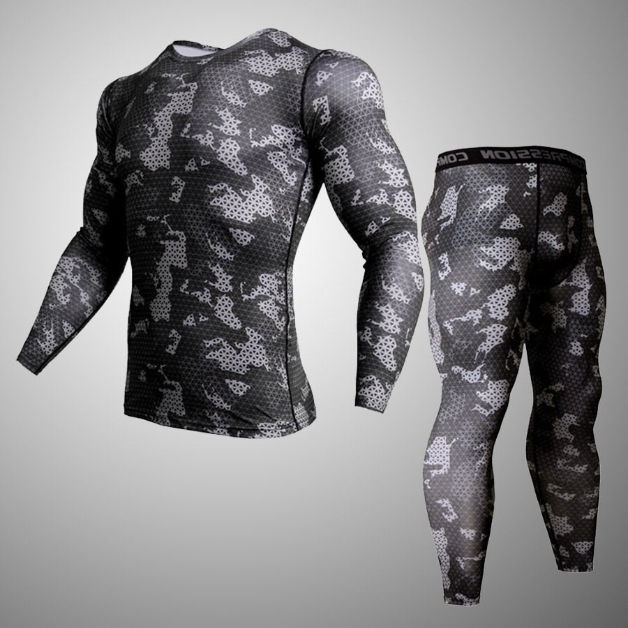 Men's Sportswear rash guard MMA Men's Camouflage Clothing Compression Sport Leggings  T-shirt Jogging Training Men's Clothing
