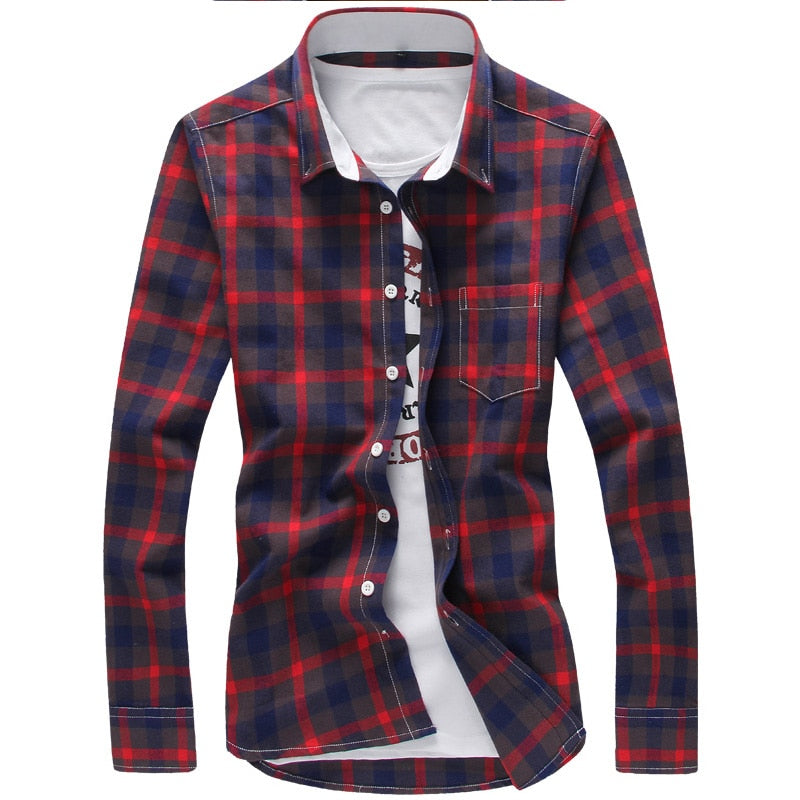 5XL Plaid Shirts Men Checkered Shirt Brand 2019 New Fashion Button Down Long Sleeve Casual Shirts Plus Size Drop Shipping