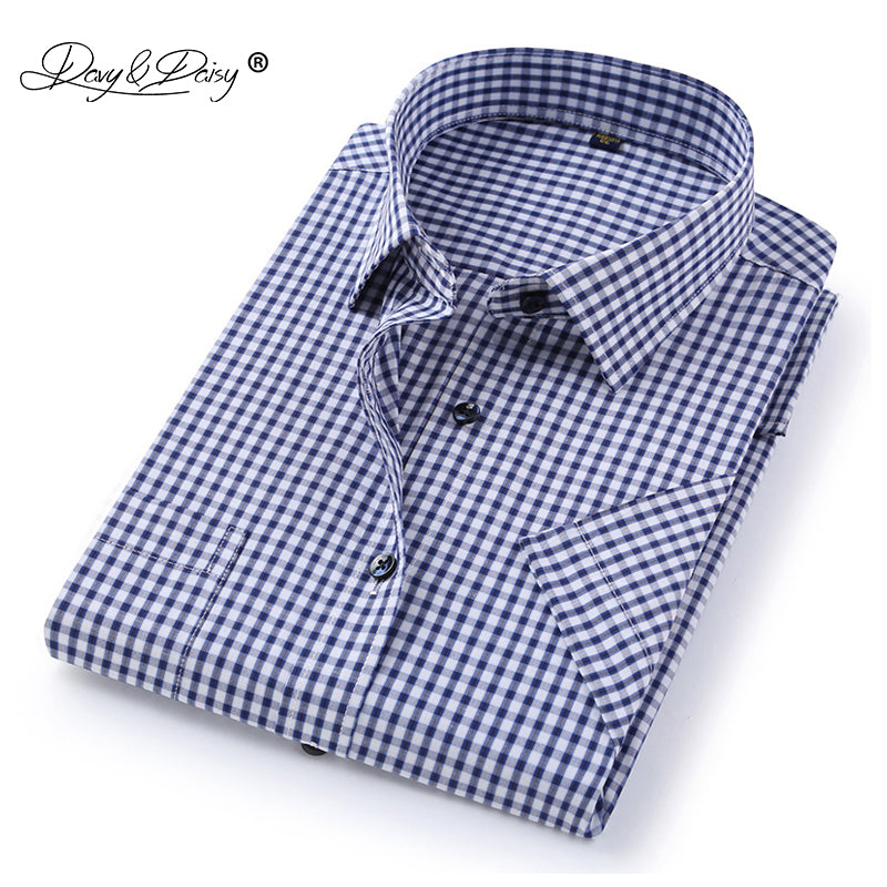 DAVYDAISY 2019 New Arrival Summer Men's Shirt Short Sleeved Plaid Striped Fashion Work Casual Shirt Man Formal Shirt DS227