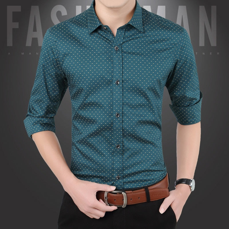 Men's Casual Shirt Slim Fit Men's Casual Button Down Shirt Long Sleeve Formal Dress Shirts Men Male Clothing Camisa Hot Sale Spr