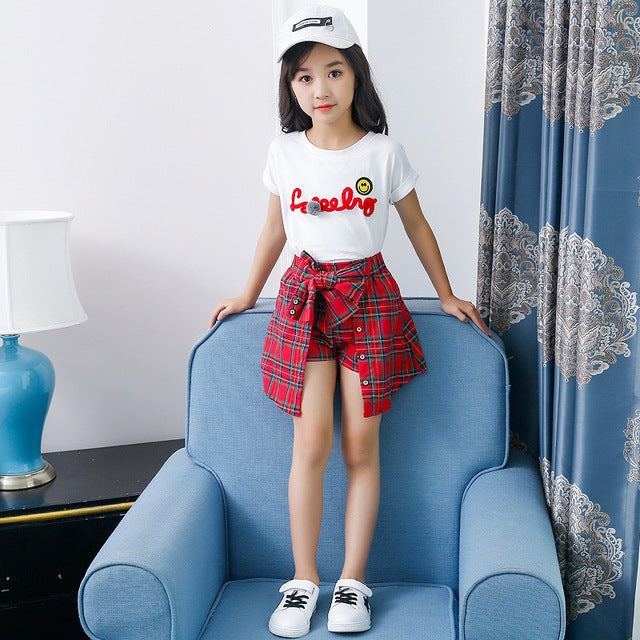 Baby Girl Clothes 2018 New Style Girls Summer Kids Children Sets  Wear Short Sleeve T-Shirt +Lattice  Culottes Two Piece Set