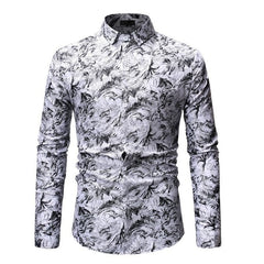 2019 Spring New Men's Floral Printed Shirts Male Slim Fit Long Sleeve Shirts Men Flower Print Shirt Tops M-3XL
