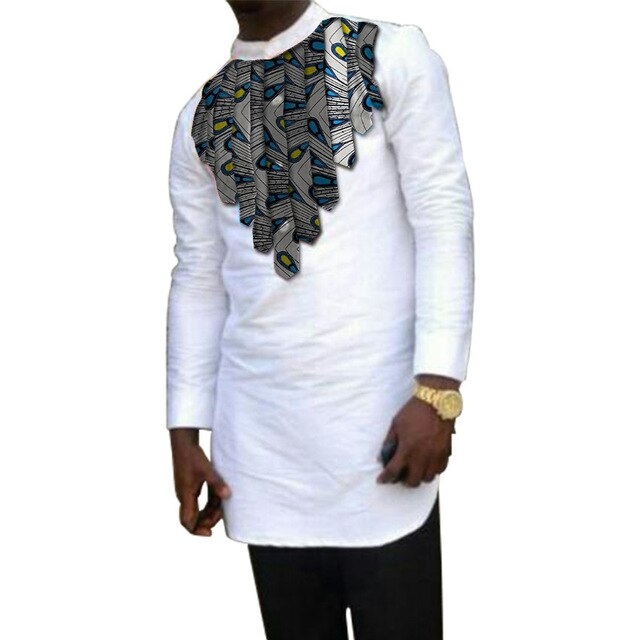 African clothing men's shirt stand collar Ankara white with print tops patchwork customize wear male dashiki shirt for wedding