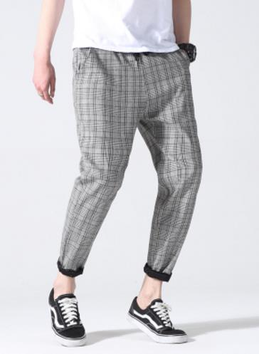 2019 Men Full Cotton Plaid Trousers Slim Fit spring Men's Slim casual Long Pants pantalones hombre Male Harem Jogger Pants