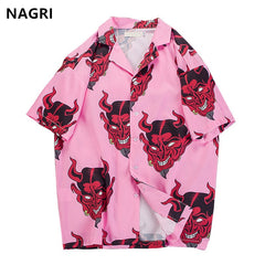 hip hop streetwear shirts men Devil Full Printing short sleeve summer floral rapper harajuku loose hawaiian korean shirts camisa