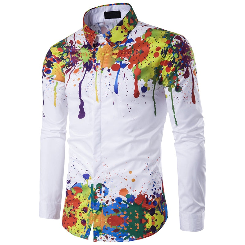 Hot Sale High Quality Fashion 3D Splash Paint Print Slim Fit Shirts Mens Luxury Long Sleeve Casual Dress Cotton Shirts Top M-3XL