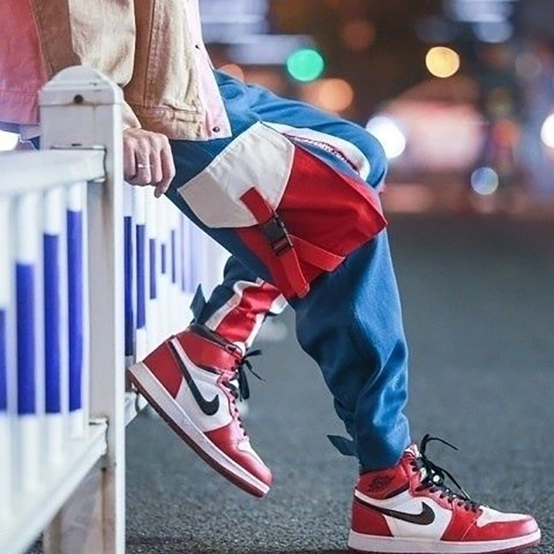 Mens Cargo Harem Pants Hip Hop Casual Pant Male Tatical Joggers Trousers Fashion Casual Pants Streetwear Pants with Side Pockets
