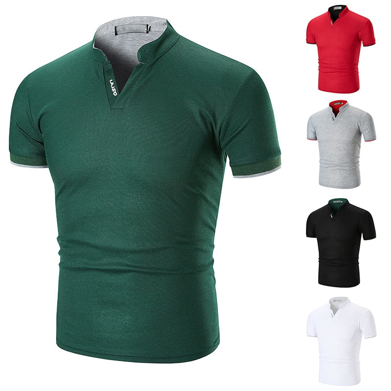 Polo Shirt Men Casual Clothes Summer New Arrival Solid Color Men's Short Sleeve Stripe Stand Collar Polo Shirt