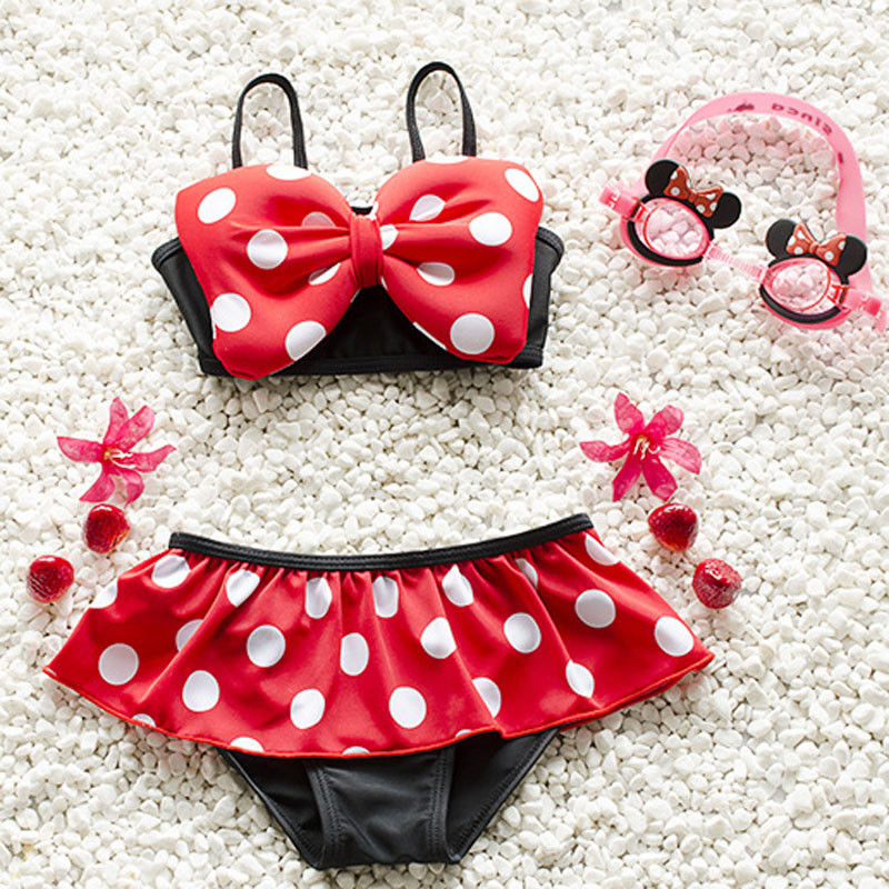 New Cartoon Baby Girls Swimwear Kids Cute Two-Piece suit Bikini Child Swimsuit Beach Wear Children Clothes