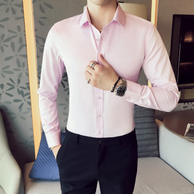 Business Shirts 2019 New Fashion Brand Clothing Mens Long Sleeve Work Shirt Elastic Slim Fit Shirt Big Size S-5XL Casual Shirt