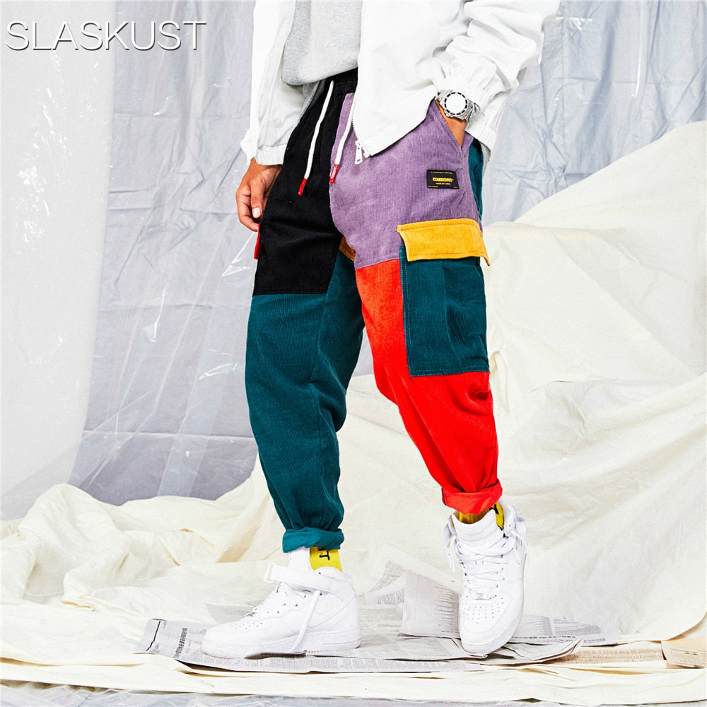 Pants Color Block Patchwork Corduroy Cargo Harem Pants Streetwear Cotton Trousers Harajuku Jogger Sweatpant