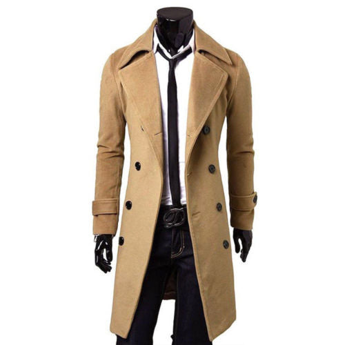 Fashion Men Autumn Jacket Long Trench Coat Warm Thicken Woolen Long Overcoat Quality Slim Black Male Overcoat Khaki Windbreaker