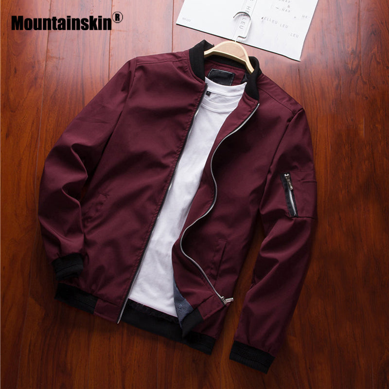 Mountainskin 2019 Mens Jackets Spring Autumn Casual Coats Bomber Jacket Slim Fashion Male Outwear Mens Brand Clothing 6XL SA585