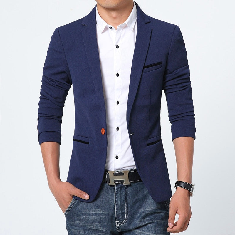 New Spring Fashion Brand Luxury Men Blazer High Quality Cotton Slim Fit Men Suit Terno Masculino Blazers Men Plus Size M-5XL