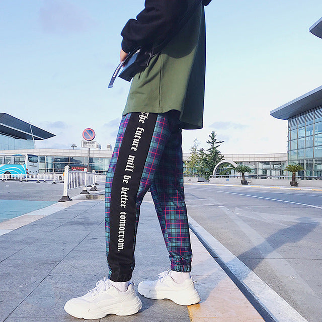 LAPPSTER Men Streetwear Plaid Pants Joggers 2019 Mens Patchwork Blue Sweatpants Ankel-length Cotton Hip Hop Track Pants Trousers