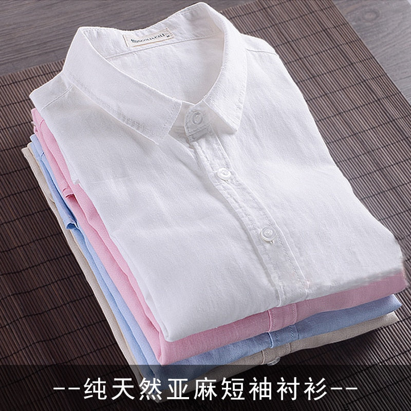 BO2019 linen shirt young male leisure cotton shirts with short sleeves business cultivate one's morality thin comfortable shirt