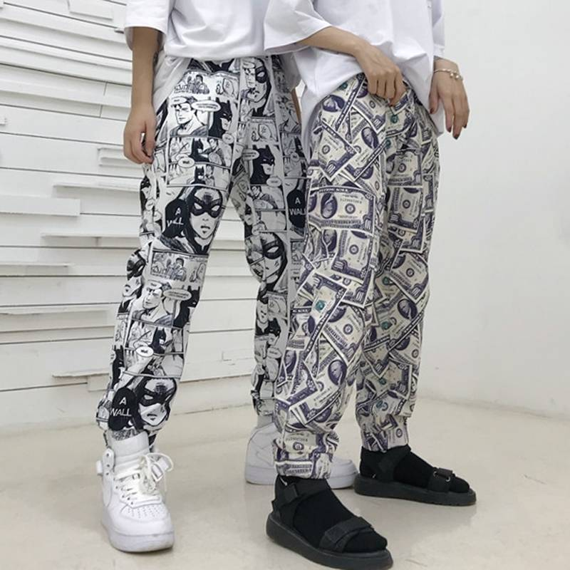 Hip Hop Pants Cartoon Print Pencil Pants Men High Street Track Pants Trousers Mens Women Fashion Pants Casual Joggers Sweatpants