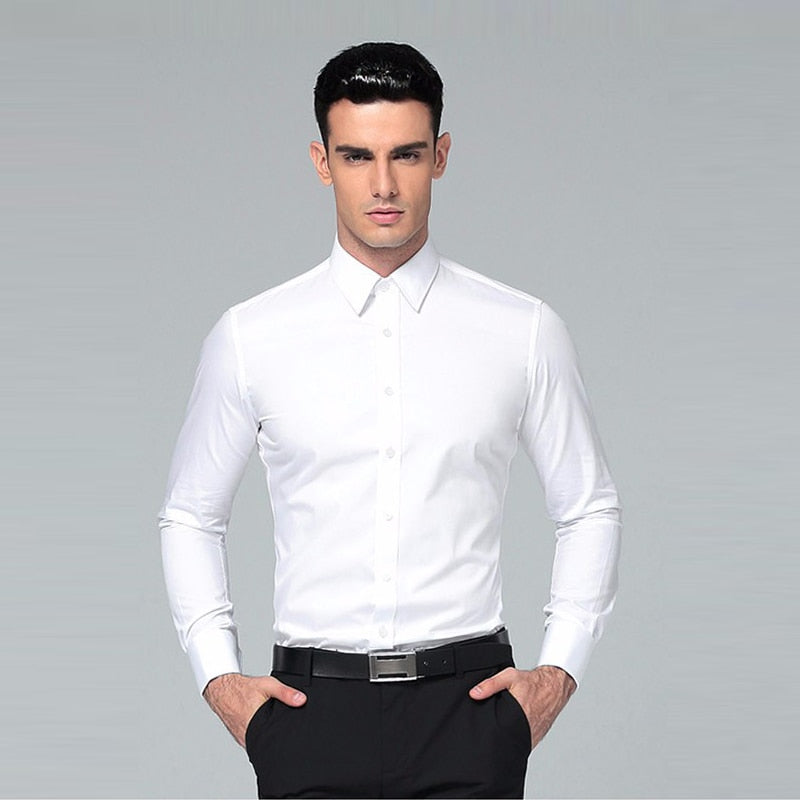 Men's Shirt 2019 Brands Long Sleeve Business Suits Shirts Solid Black Regular Fit business Mens Dress Shirts Camisa Masculina