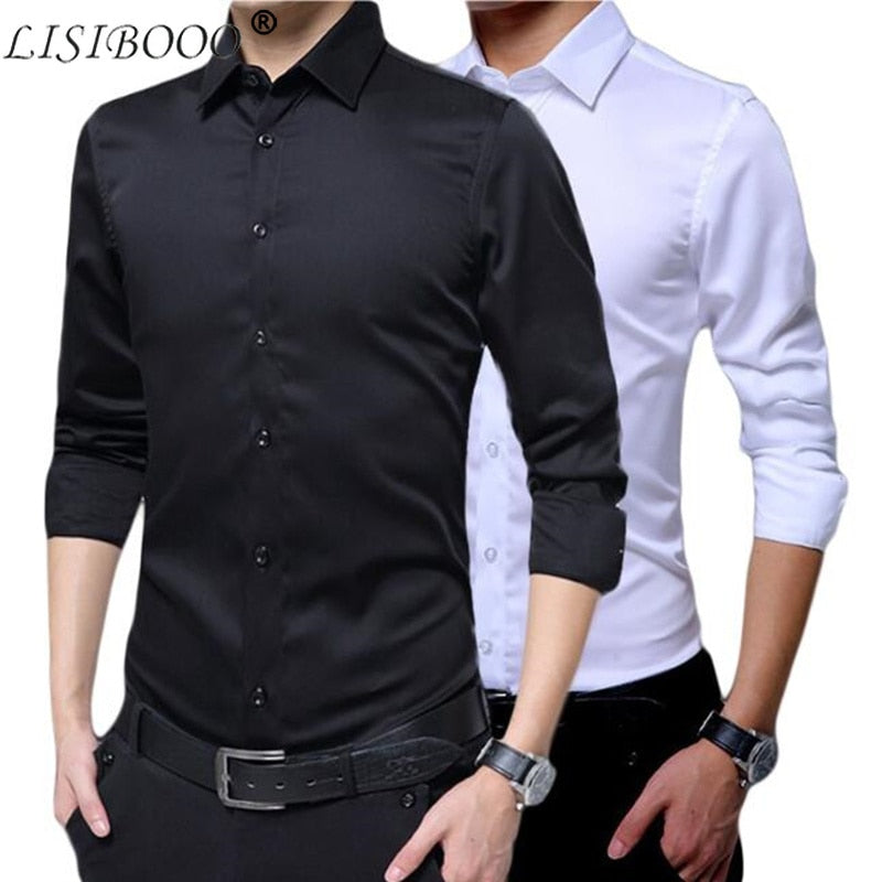 Mens Long Sleeve Shirt Dress Up Professional Shirt Long Sleeve Mens White Slim Fit Shirt Solid Color Men Business Dress Shirt