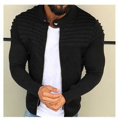 Spring Autumn New Men's Zipper Jacket Male Casual Streetwear Long Sleeves Solid Coat Men Stripe Brushed Clothing