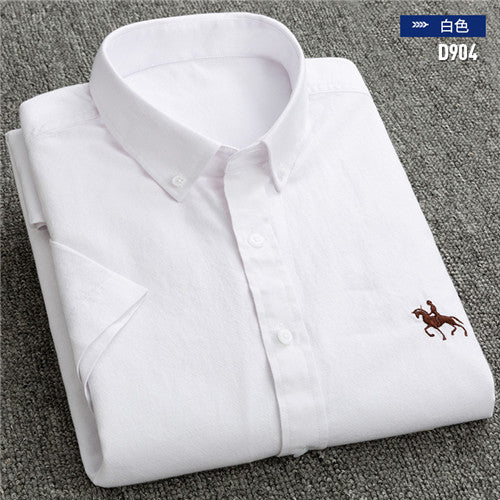 New S to 6xl short sleeve 100% cotton oxford soft comfortable regular fit plus size quality summer business men casual shirts