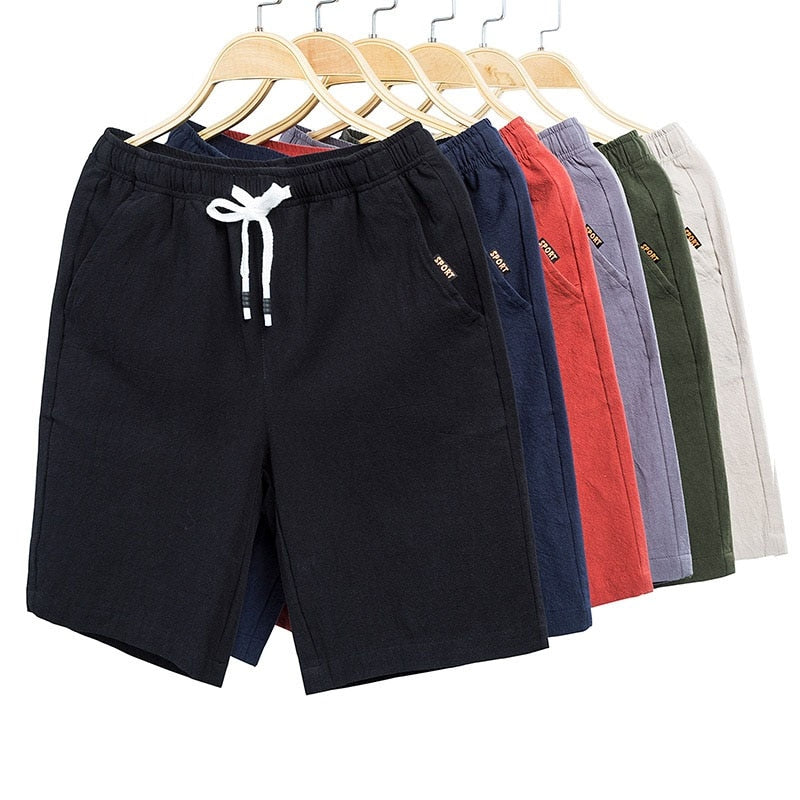 2019 Summer New Men's Fashion Cotton Casual Shorts Men Drawstring Waist Black Khaki Men Shorts Big Size Men 4XL 5XL