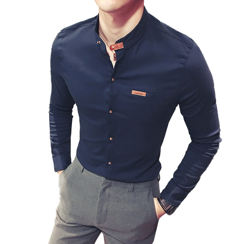 New Quality Fashion Brand Business Men's Long-sleeved Quality Shirt Casual Formal Design Shirt Oversized Men Solid color Shirts