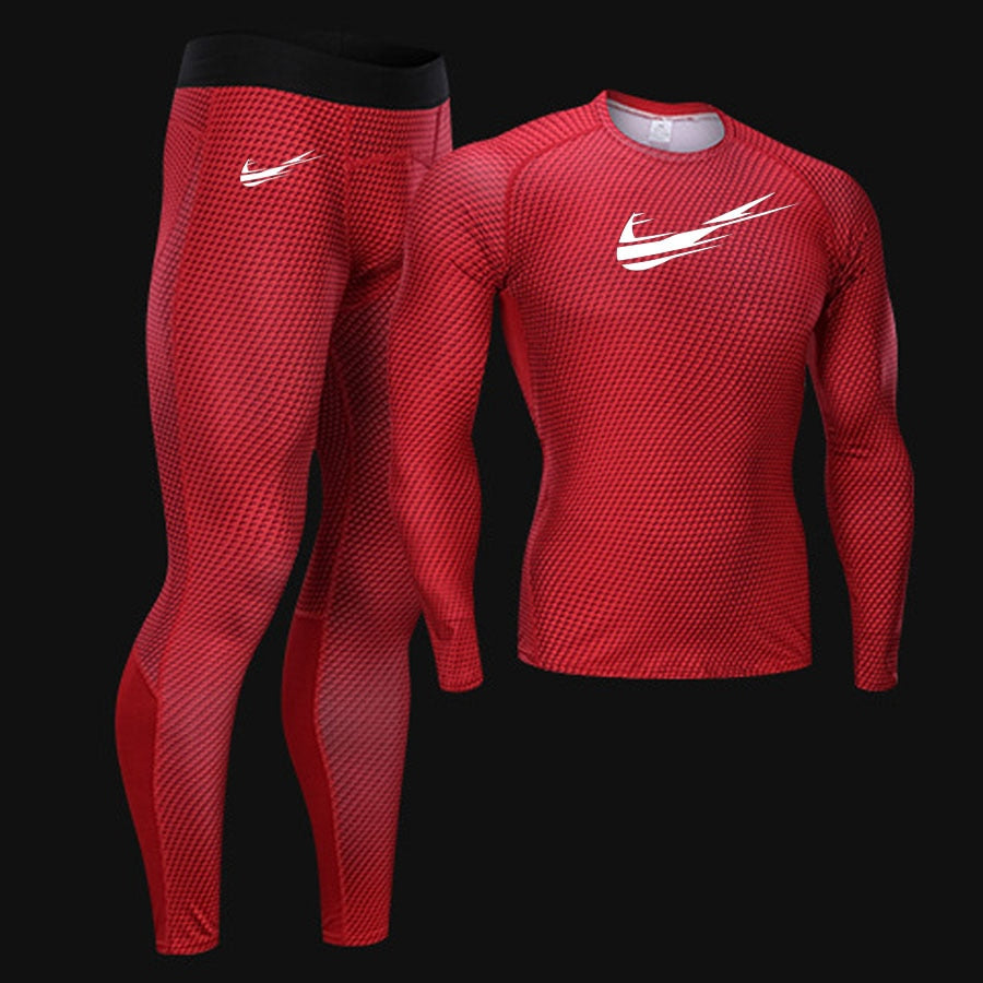 New Jogging Thermal Underwear Set Quick-drying Training T-shirt Leggings  Union Suit 2019 Autumn Winter New Sportswear Brand