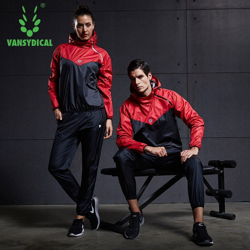Vansydical Sports Jogging Suits Mens Womens Gym Running Set Fitness Training Clothing Weight Loss Sweating Sauna Sportswear