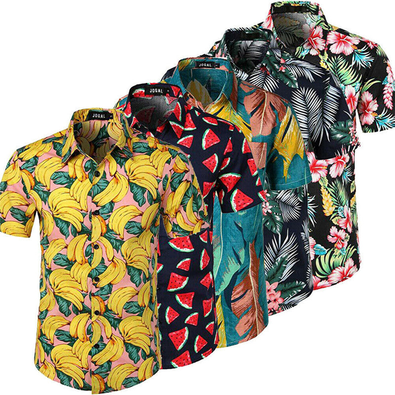 Men Hawaiian Short Sleeve Shirt Summer Floral Printed Beach Sea Shirt