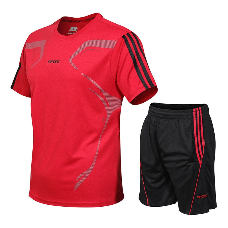 New Brand Sportswear Set Men Running Sport Tracksuit Fitness Men T shirt+Shorts  Gym Run Jogging Quick Dry Clothes 2pcs / Sets