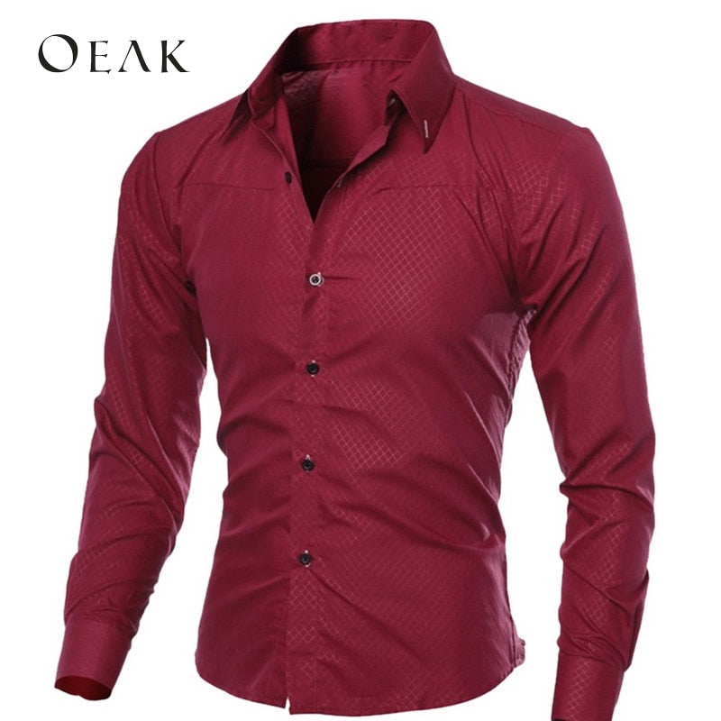 Oeak Spring Autumn Long Sleeve Formal Shirts for Men Solid Slim Basic Turn-down Collar Business Dress Shirts camisas masculina