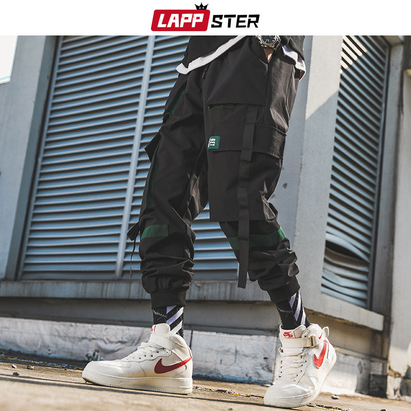 LAPPSTER Men Ribbons Streetwear Cargo Pants 2019 Spring Hip Hop Joggers Pants Overalls Polyester Fashions Baggy Pockets Trousers