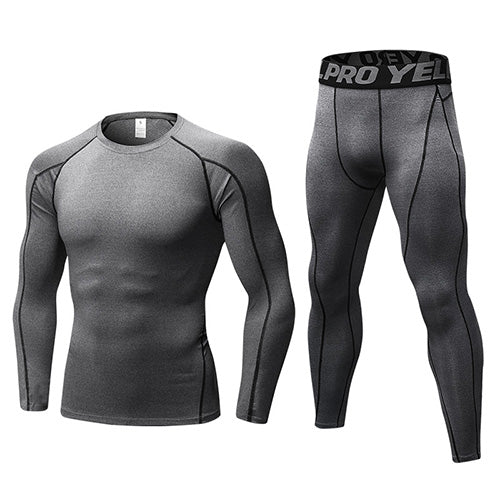 RU Local Free Shipping Compression Tracksuit Fitness Tights Running Set Tshirt Legging Sportswear Demix Black Gym Men Sport Suit