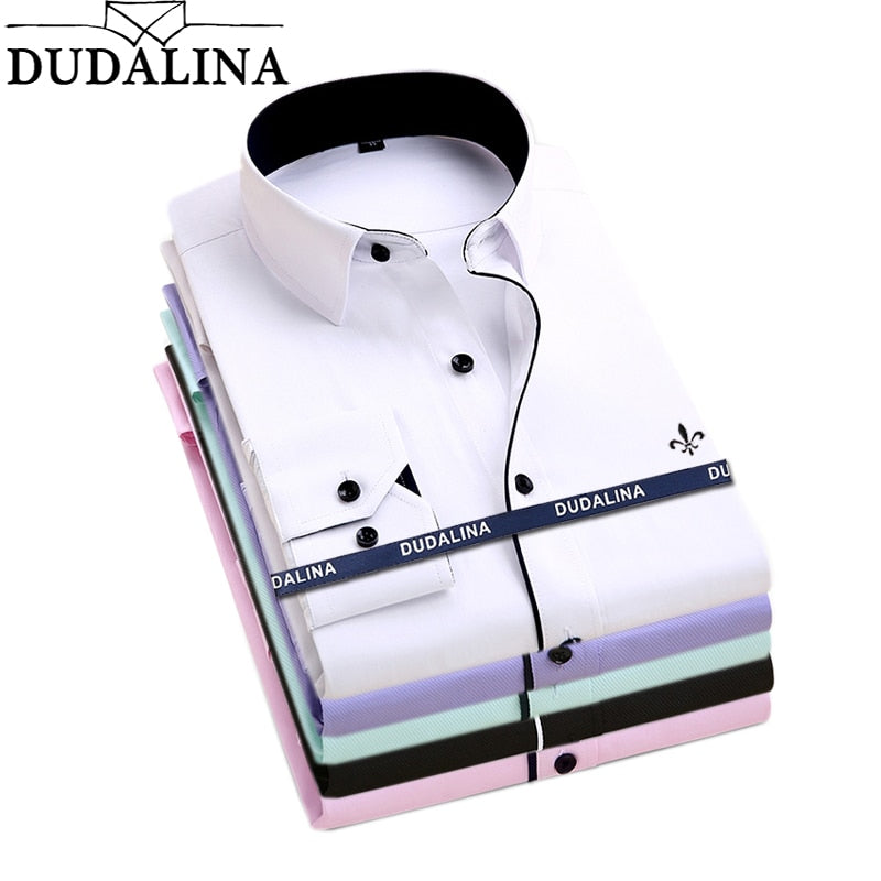 Dudalina Camisa Male Shirts Long Sleeve Men Shirt Brand Clothing Casual Slim Fit Camisa Social Striped Masculina Chemise Homme